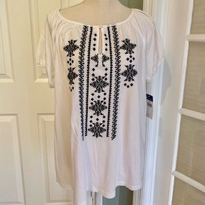 Chaps Tunic black and white short sleeve top